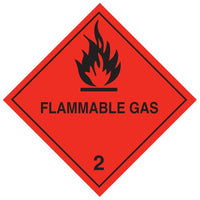 Class 2.1 - Flammable Gas - 100mm x 100mm label (single or rolls of 250)  (50mm x 50mm available)