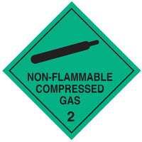 Class 2.2 - Non-Flammable Compressed Gas - 100mm x 100mm label (single or rolls of 250)  (50mm x 50mm available)