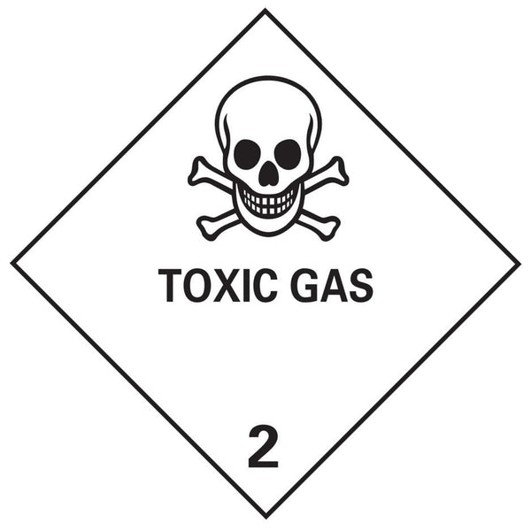 Class 2.3 - Toxic Gas - 100mm x 100mm label (single or rolls of 250)  (50mm x 50mm available)