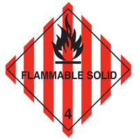 Class 4.1 - Flammable Solid - 100mm x 100mm label (single or rolls of 250)  (50mm x 50mm available)