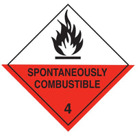 Class 4.2 - Spontaneously Combustible - 100mm x 100mm label (single or rolls of 250)  (50mm x 50mm available)