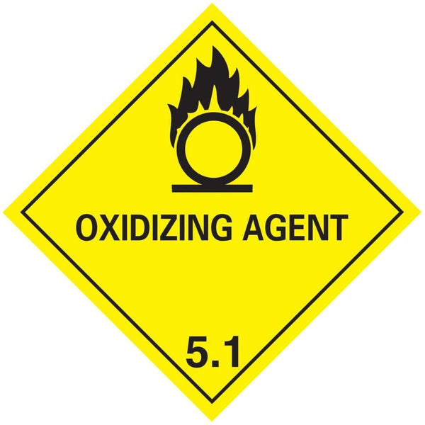 Class 5.1 - Oxidising Agent - 100mm x 100mm label (single or rolls of 250)  (50mm x 50mm available)