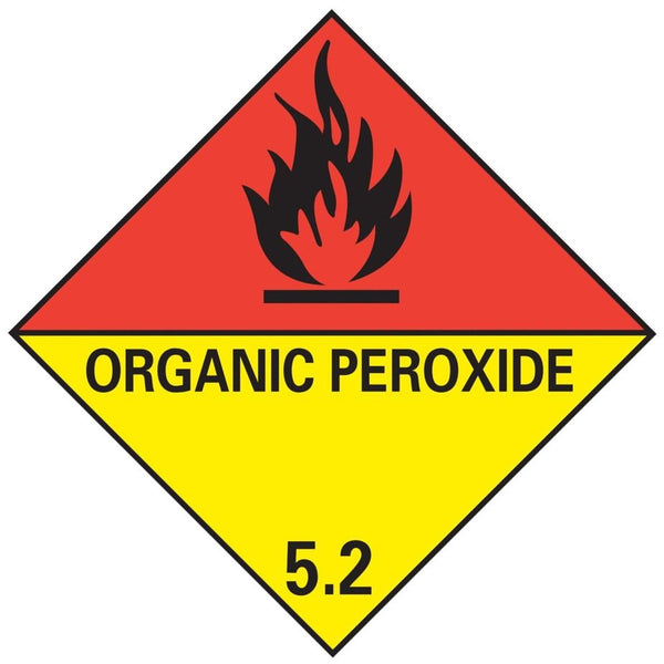 Class 5.2 - Organic Peroxide - 100mm x 100mm label (single or rolls of 250) (50mm x 50mm available)