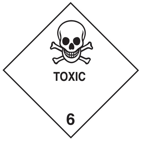 Class 6.1 - Toxic - 100mm x 100mm label (single or rolls of 250)  (50mm x 50mm available)