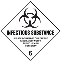 Class 6.2 - Infectious Substance - 100mm x 100mm label (single or rolls of 250)  (50mm x 50mm available)