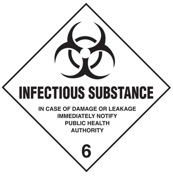 Class 6.2 - Infectious Substance - 250mm x 250mm Hazardous Placard