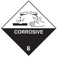 Class 8 - Corrosive - 100mm x 100mm label (single or rolls of 250)  (50mm x 50mm available)