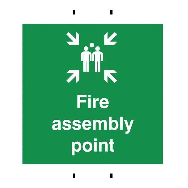 Fire Assembly Point Temporary Reusable Post-Mounted Signs