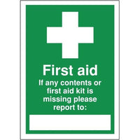 First Aid If Contents Missing Write on info Sign