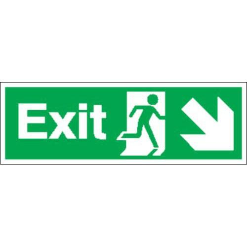 Fire Exit (Arrow Diagonal Down & Right) Signs