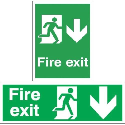 Fire Exit Signs - Running Man Downward Arrow
