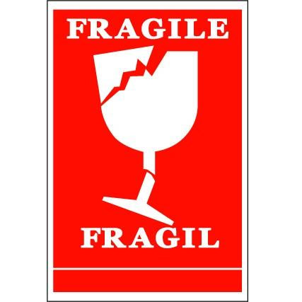 Fragile Handling Label - 75mm x 110mm - Rolls of 250