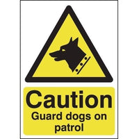 Caution Dogs On Patrol Hazard Signs