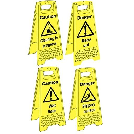 Bright Yellow Plastic Wet Floor 'A' Board Sign Stands (various messages, single or packs of 5)