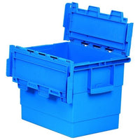 Heavy Duty Plastic Attached Lid Containers - Various Sizes