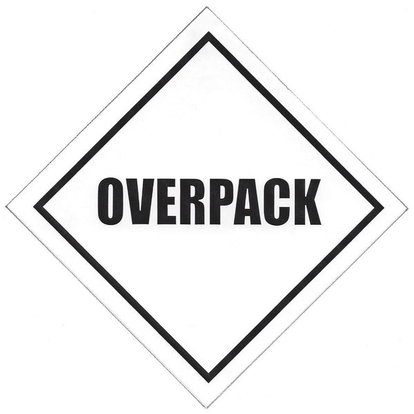 Overpack - 100mm x 100mm label (single or rolls of 250)
