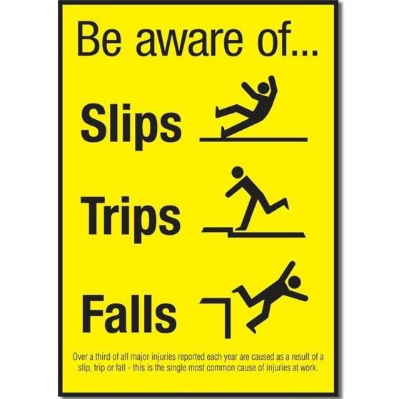 Be Aware of Slips, Trips & Falls Accident Prevention Poster