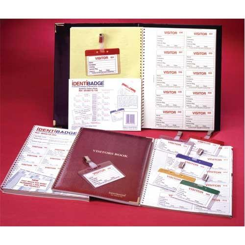 Visitor Registration Book with Duplicate Identification Badge Inserts
