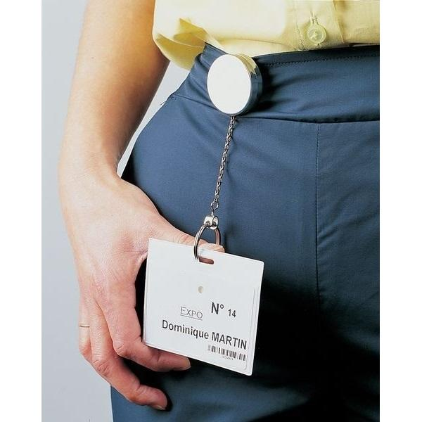 Retractable Chrome Badge Holder (Single or packs of 15 or 30)