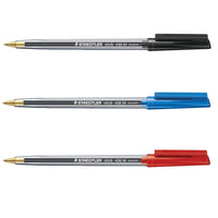 Staedtler 430 Stick Ball Pen Medium 1.0mm Tip 0.35mm Line Black, Blue or Red Ink [Pack 10]