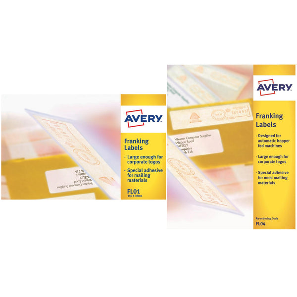 Avery Franking Labels 1 Or 2 per sheet 140x38mm White [1000 Labels]