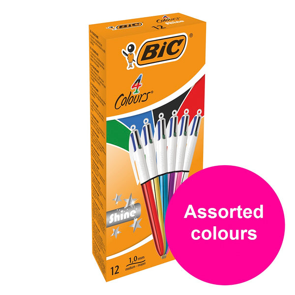 Bic 4 Colours Shine Ballpoint Pen Medium Assorted Colours [Pack 12]