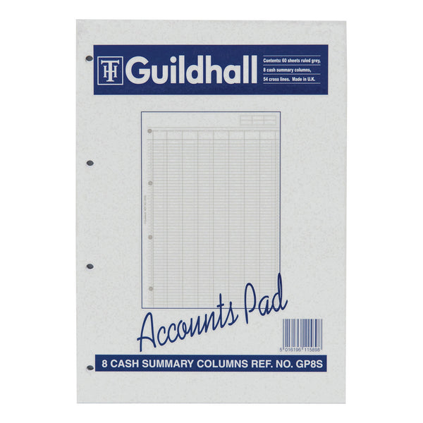 Guildhall Account Pad 8 Cash Column and Summary Punched 4 holes 60 Sheets A4