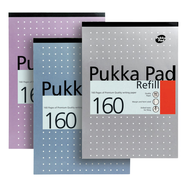 Pukka Pad Refill Pad Headbound 80gsm Ruled Margin Punched 4 Holes 160pp A4 Assorted [Pack 6]