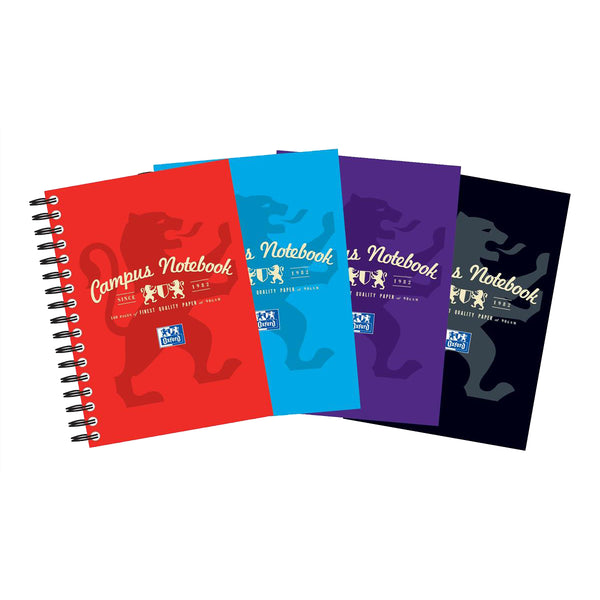 Oxford Campus Notebook Wirebound 90gsm Ruled Perforated 140pp A6 Assorted Colours [Pack 10]