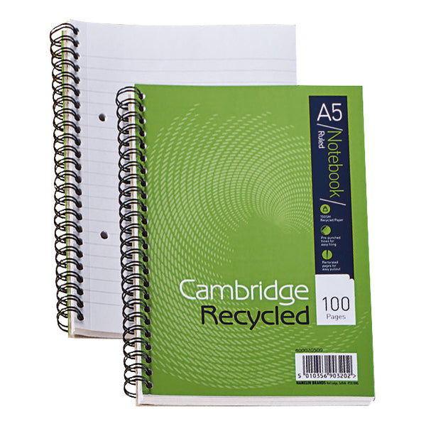 Cambridge Recycled Notebook Wirebound 70gsm Ruled Perf Punched 2 Holes100pp A5 [Pack 5]