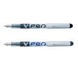 Pilot V Fountain Pen Disposable White Barrel Iridium Nib Medium 0.5mm Line Black or Blue Ink [Pack 12]