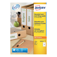 Avery Filing Label (Lever Arch) Laser Recycled 4 Per Sheet 192x61mm [400 Labels]