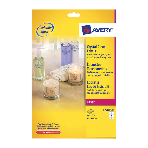 Avery Crystal Clear Label 10 Per Sheet 96x50.8mm [250 Labels]