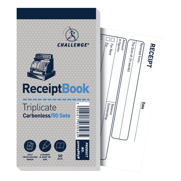 Challenge Triplicate Book Carbonless Receipt 50 Receipts 140x70mm [Pack 10]
