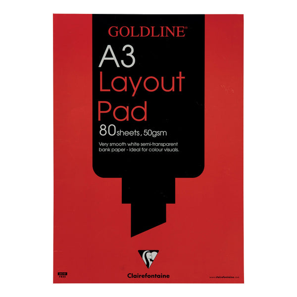 Goldline Layout Pad 50gsm Acid-free Paper 80 Sheets A3 or A4 White [Pack 5]