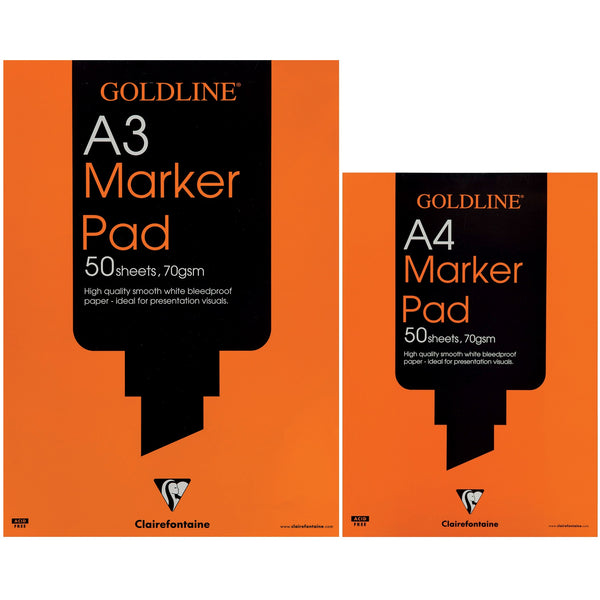 Goldline Bleedproof Marker Pad 70gsm Acid-free Paper 50 Sheets A3 Or A4 White [Pack 5]
