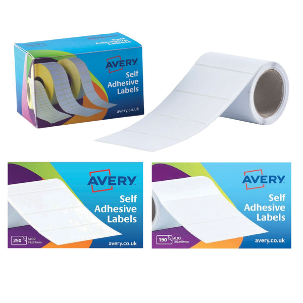 Avery Address Labels Typewriter Roll 76x37mm White Ref AL01 [250 Labels]