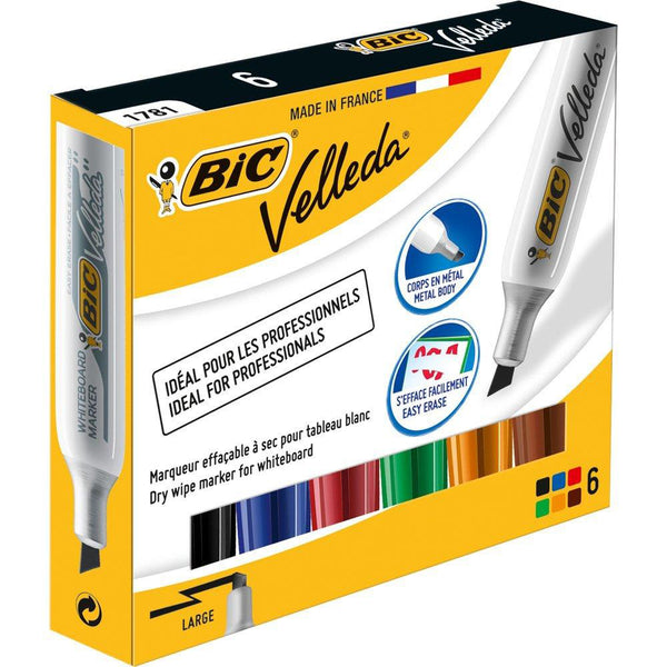 Bic Velleda 1781 Acrylic Chisel Tip Whiteboard Marker 3.2-5.5mm Width Assorted [Pack 6]