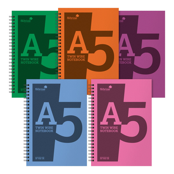 Silvine Notebook Polypropylene Wirebound 56gsm Ruled 160pp A5 Assorted Colours [Pack 10]