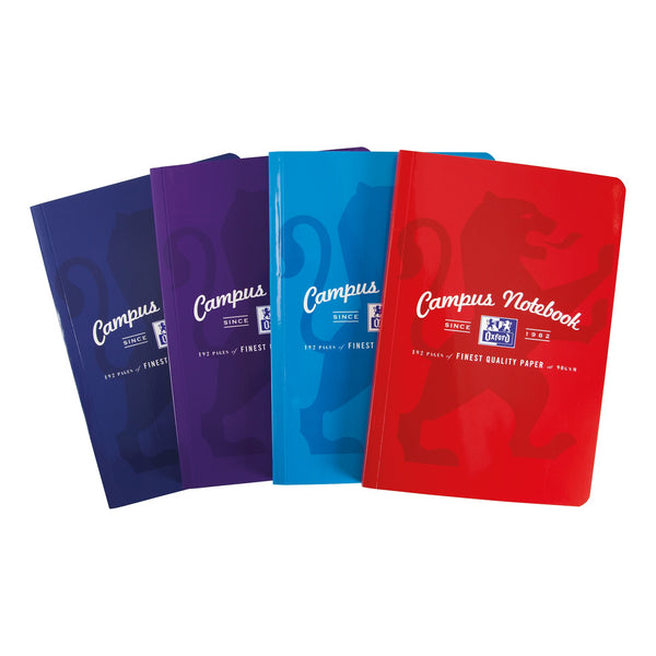 Oxford Campus Notebook Casebound 90gsm Ruled and Margin 192pp A4 or B5 Assorted Colours [Pack 5]