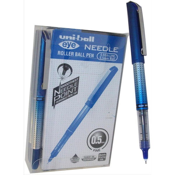 Uni-ball UB-185S Eye Needle Rollerball Pen 0.5mm Tip Blue, Black or Red Ink [Pack 12]