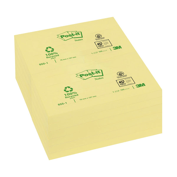 Post-it Recycled Notes Pad of 100 Various Sizes [Pack 12]