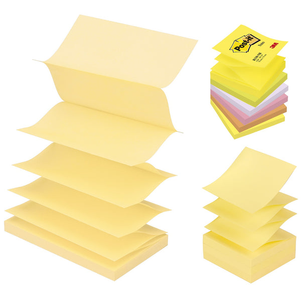 Post-it Z Notes 76mm x 76/127mm o Canary Yellow or Neon Rainbow [Pack 6/12]