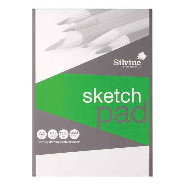 Silvine Popular Drawing Pad Acid Free Cartridge Paper 100gsm 50 Sheets A3 Or A4