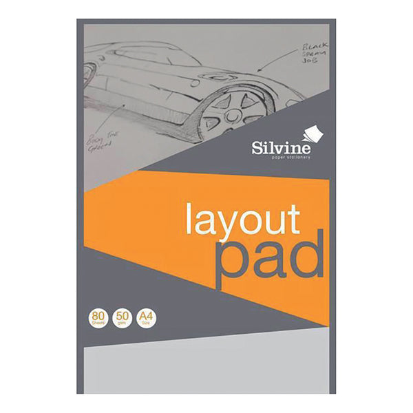 Silvine Layout Pad Bank Paper Acid Free 50gsm 80 Sheets A3 Or A4