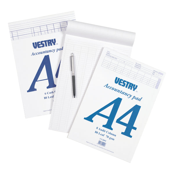 Vestry Accountants Pad 8 Cash Column 80 Leaf A4
