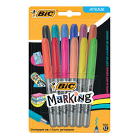BIC Permanent Markers Colour Collection Non-toxic Fine Tip 1.8mm 0.8mm Line Assorted Colours [Pack 12]
