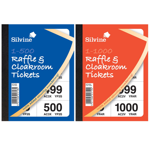 Cloakroom or Raffle Tickets Numbered 1-500/1-1000 Assorted Colours [Pack 6 or 12]