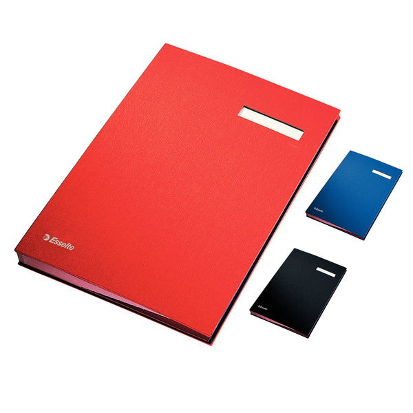 Signature Book 20 Compartments Durable Blotting Card 340x240mm Red, Blue or Black
