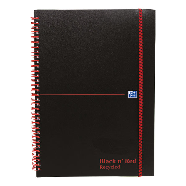 Black n Red Notebook Wirebound PP 90gsm Ruled Recycled and Perforated 140pp A4 Or A5 [Pack 5]